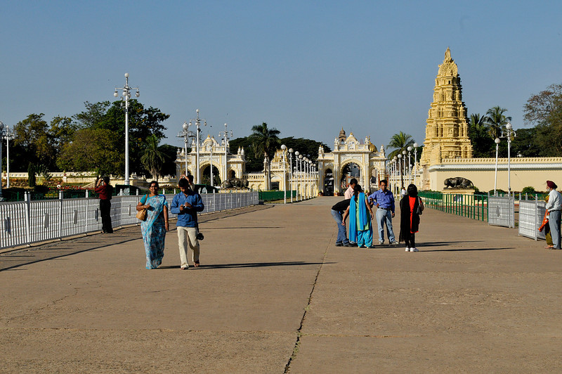 Gates to the Mysore Palace and one of the two main temples.
