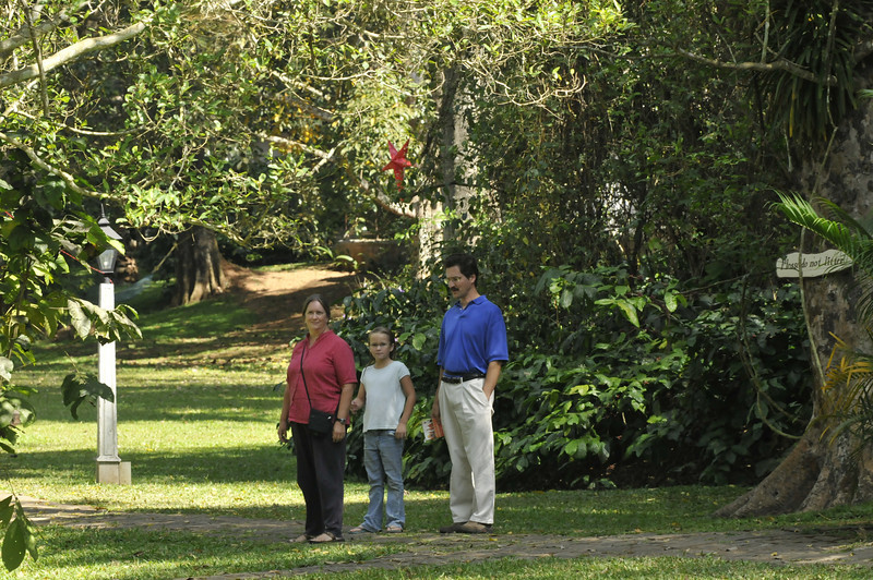Walking in the grounds of the resort.