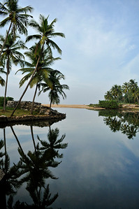 A slow moving stream flows toward the Indian Ocean.