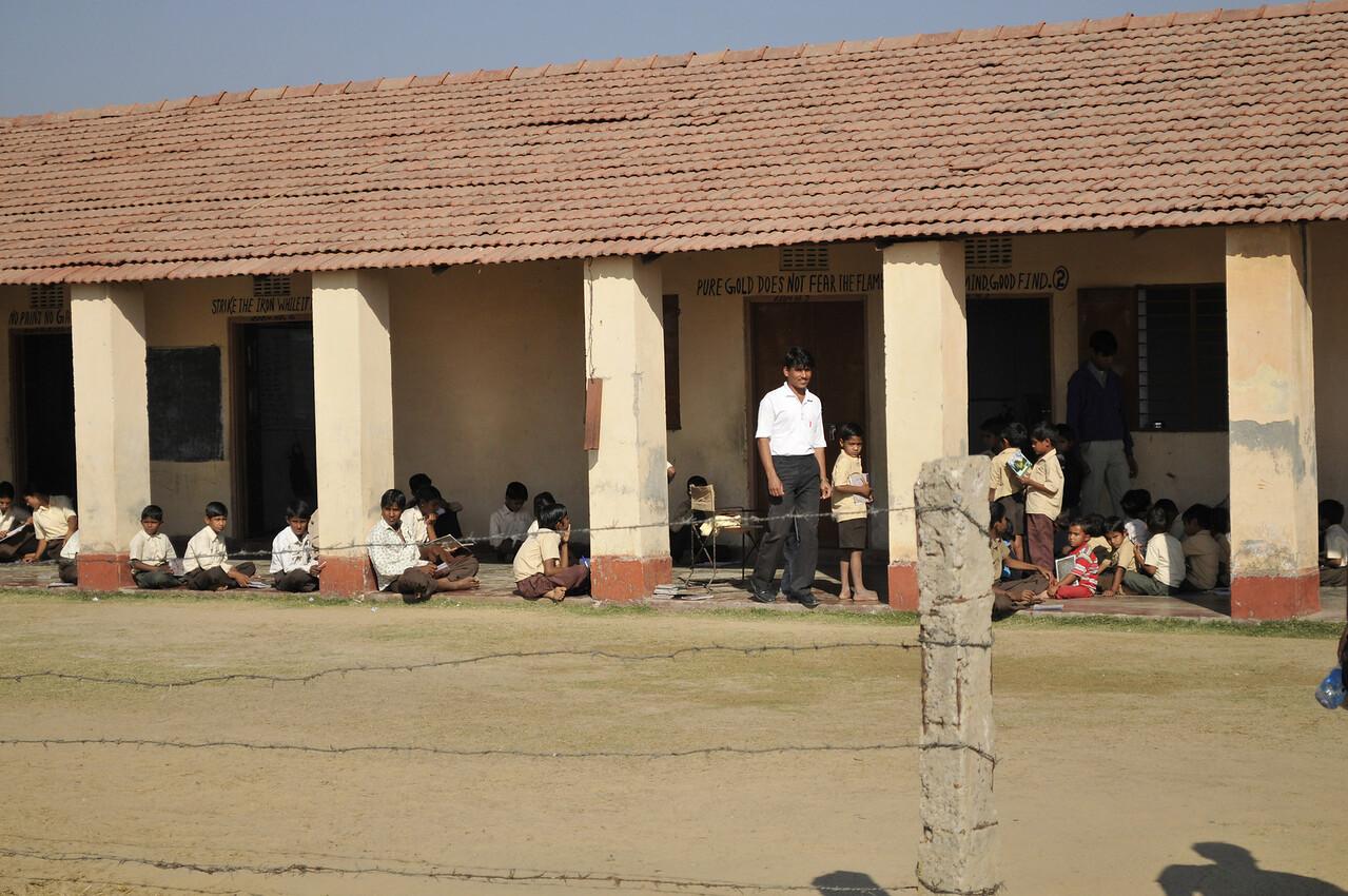 The school building.
