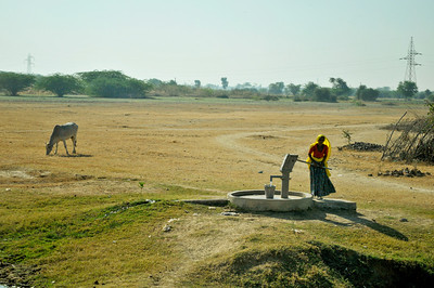 The school is located in the countryside. Across the road a cow grazes, and a woman pumps water from one of the wells seen throughout rural India.