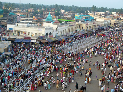 In Puri itself many Hindus come to enter the Jagannath temple.  The main street is closed to traffic and fencing is put in place to guide the long line of people coming to the temple.