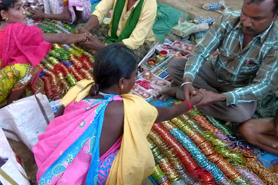 Inexpensive plastic bracelets seemed to be a major item in every one of the several markets we visited.