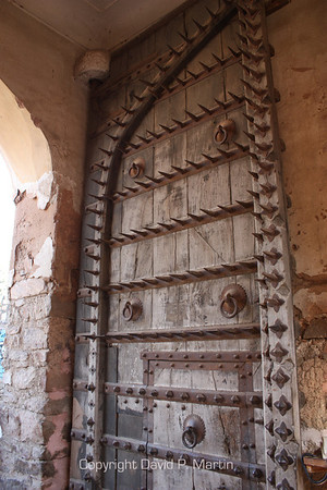 Fort door. The spikes above five feet high are to prevent an elephant from pushing the doors open with its head.