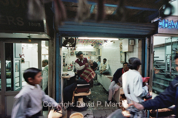 Barbershop in Old Delhi.