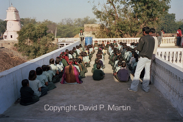 Morning exercises at the Saini Adarsh Vidhya Mandir School.