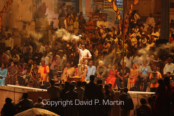 A Hindu Aarti ceremony on the banks of the Ganges.