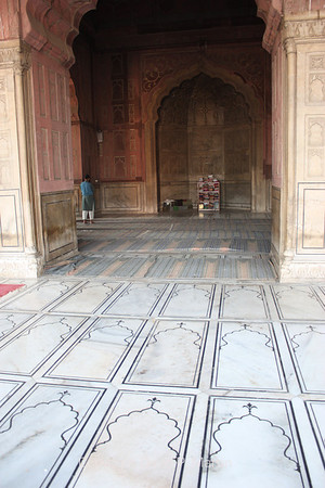 "Inlaid marble ""rugs"" in the mosque."