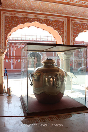 At the City Palace Museum in Jaipur. One of two 900 liter, silver containers used by Madho Singh II, to carry water from the Ganges to England in 1901.