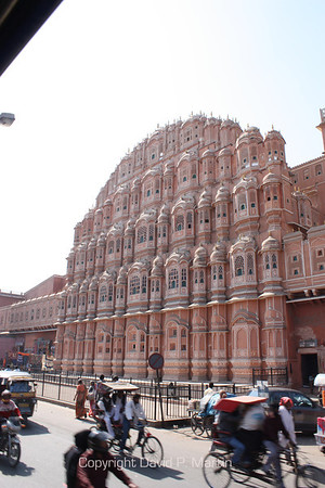 The Hawa Mahal, Palace of the Winds, in Jaipur, is five stories high, but only one room deep.