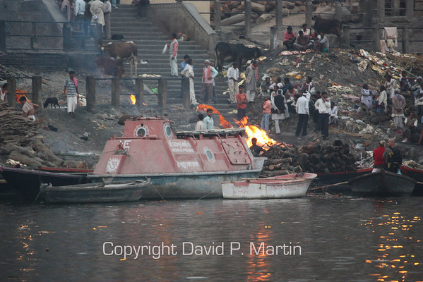 The cremation ghat by the Ganges.