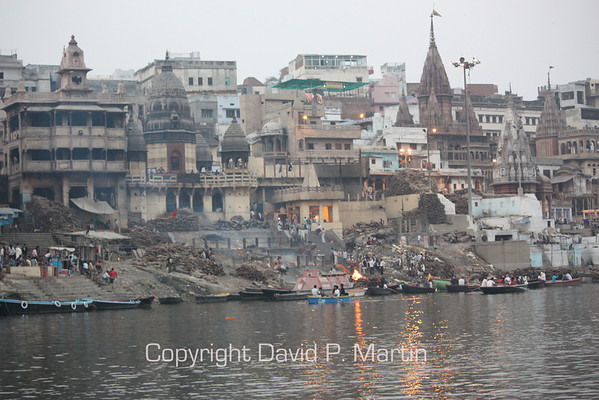 The Manikarnika Ghat by the Ganges where cremations occur day and night.