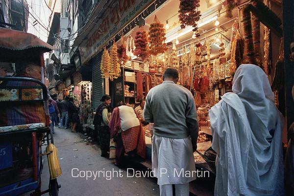 The Chandni Chowk bazaar in Old Delhi.