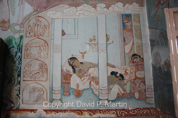 One of the murals of the Buddha's life in the Sarnath Temple.