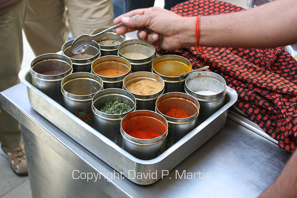 An array of spices for Prabhu's cooking demonstration.