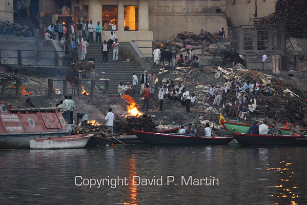 Cremation on the banks of the Ganges.