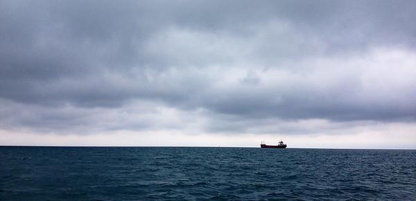 North bound freighter on Lake Huron.