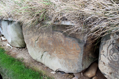Many of the motifs are typical: spirals, lozenges and serpentiform. However, the megalithic art at Knowth contains a wide variety of images, such as crescent shapes