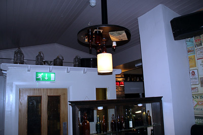 note the table hanging from the ceiling - restuarant in Drogheda