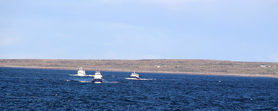 the ferries returning from an earlier trip to the islands