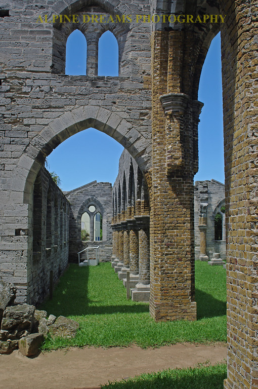 The Ruins of this Church  in Saint Georges stand out starkly in front of the bright blue sky. Note the detail and craftmanship of  the hand carved blocks including the keystones on the arches.