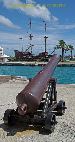 Cannon and Tall Ship  in St Georges.