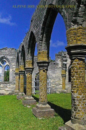 These RUINS stand out  against the bright blue sky and the stone pillars. Check out the window in the far back.