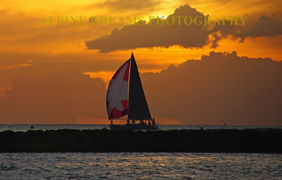 The sight of this Sailboat under full sail leaving Honolulu for a sunset cruise is beauty to behold. The colors of the sails against the golden-yellow sky make this one of my favorites. To me it was the right place at the right time.