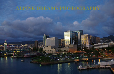 skyline of Honolulu near dusk.