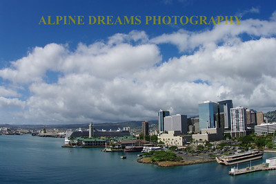 skyline of Honolulu in mid afternoon sun.