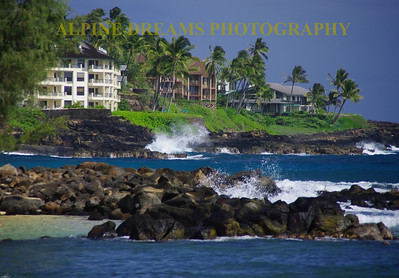 The beaches of Kuai are beautiful. The beach of Poipu are is one of my favorite beaches in the world.  The sand, sea, rocks, houses, palm trees all get together to make you want to come back.