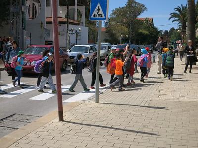 Zichron - Children crossing HaNadiv St. at Founders St.