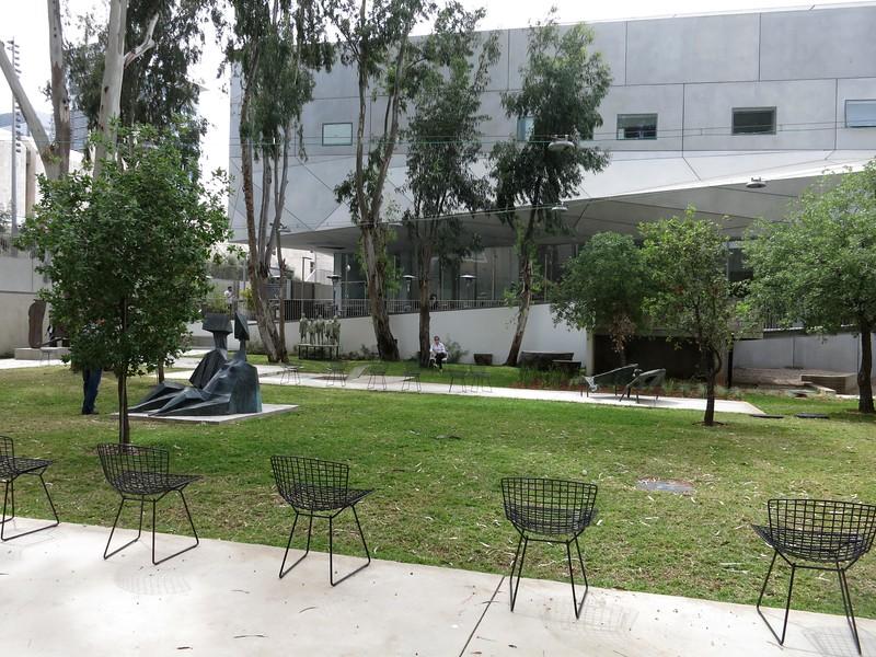 Sculpture garden. Restaurant behind first floor windows.