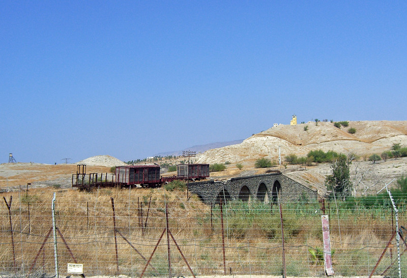 6-Old Gesher: rail cars, 1904 Turkish bridge, watch tower in background.