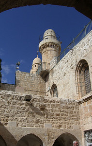 7-Below the minaret are the windows of the Cenacle. Dormition belltower in background.