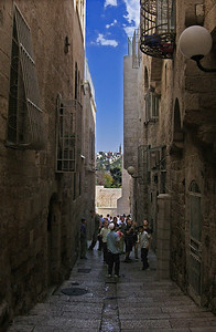 21-Same street, further down. Mount of Olives on the horizon.