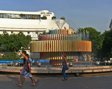 19-Bauhaus Cinema Hotel; Agam Fountain on platform above Dizengoff Circle. There is a plan to remove the bridge and fountain and restore the square to near its original form.
