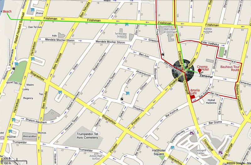 14-Map shows walkway to/from Beach (green) and Bauhaus audio tour route (red).