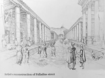 Artist's reconstruction of Palladius Street.