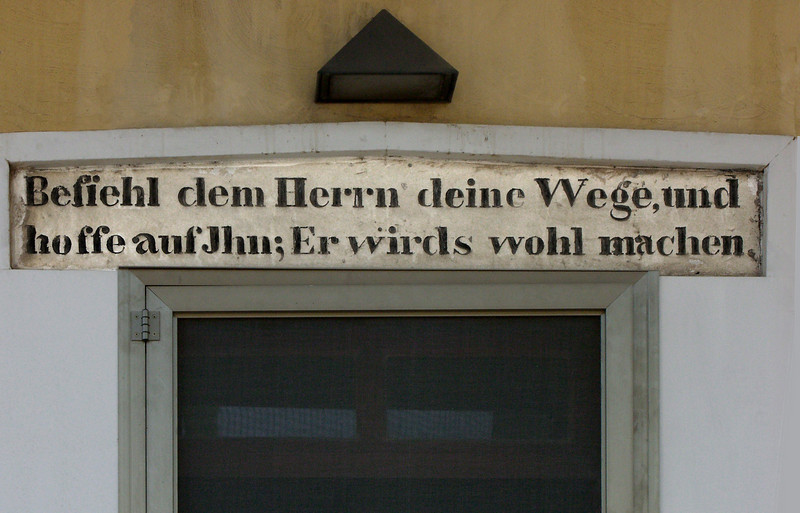 """11-German Colony lintel. """"Instruct men in your ways, and to hope for John; and it will happen."""""""