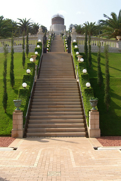 22-Baha'i Gardens, from the second plaza. The Baha'i Gardens are 530 miles due west of Babylon, whose Hanging Gardens were legendary.