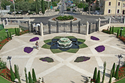 27-Baha'i Gardens lower fountain, and roundabout on Ha-Gefen Street at Sderot Ben Gurion.