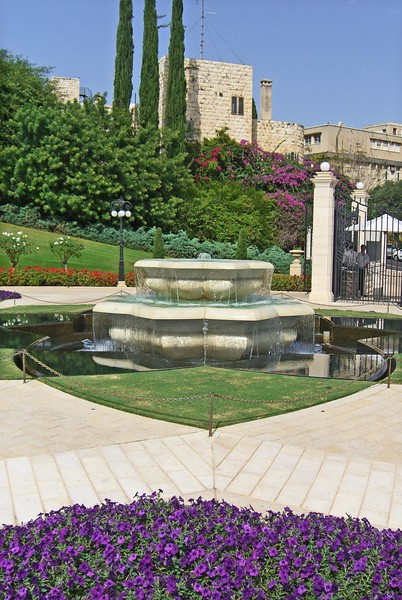 29-Baha'i fountain, lower gate. The Gardens were reopened in 2001 after 14 years of massive redesign and reconstruction.