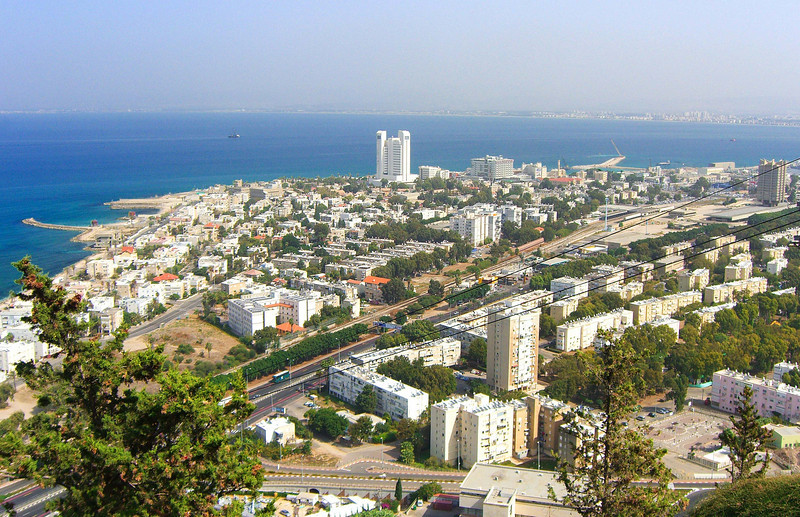 6-Haifa, medical school (tallest building), and Rambam Medical Center from Cable car terminus on Stella Maris. Salvador street at bottom of photo.