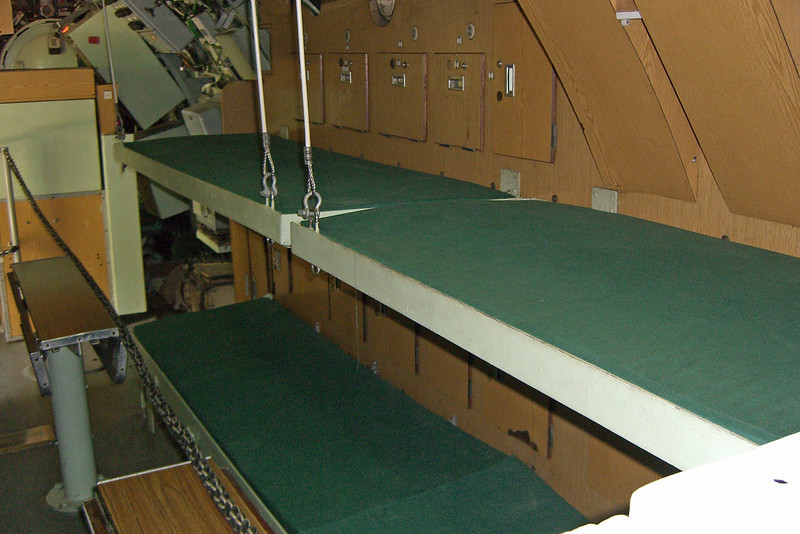 19-Interior (bunks) of a small, old, submarine.
