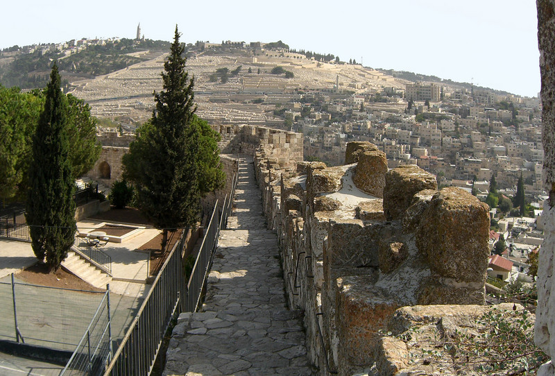 38- HaTkuma Garden (left); Mount of Olives; Silwan
