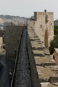 32-South City Wall, looking east to Zion Gate