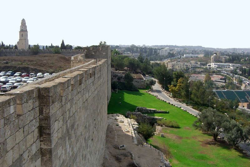 28-Looking south, Dormition Abbey and SW corner of City walls
