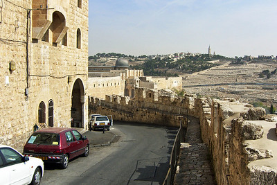 43-Along the south city wall, looking from the west to Al Aksa Mosque and Mount of Olives