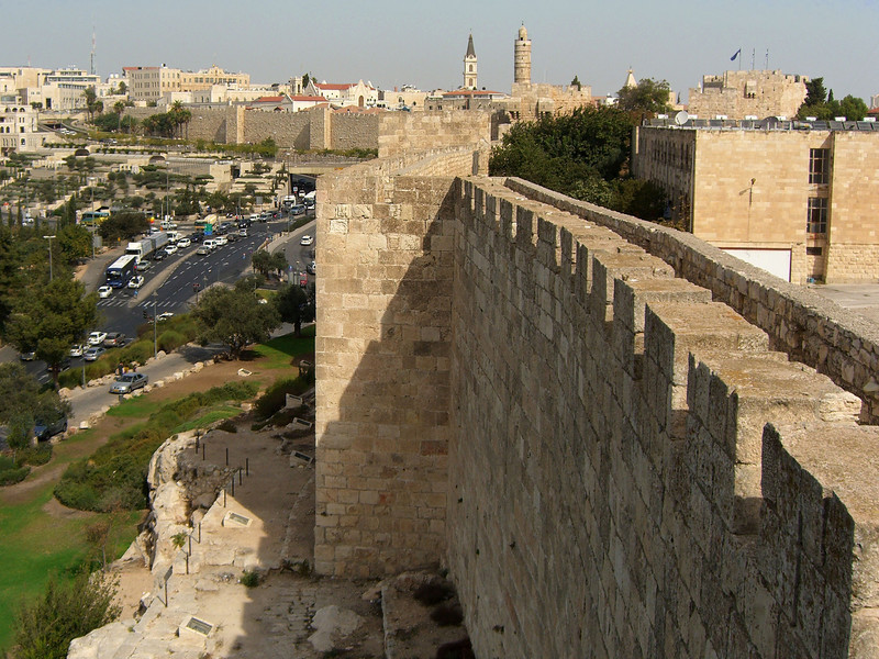 22-Looking north along the Old City walls, from the SW corner